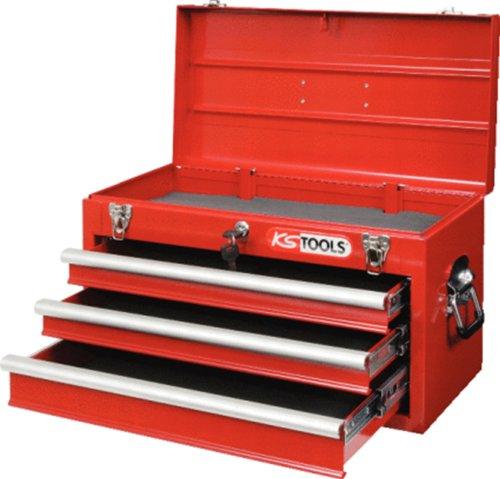 KS Tools 891.0003 Caja de Herramientas con 3 deslizantes y cajón Superior con Tapa abatible, Color Rojo