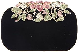 Fawziya Flower Velvet crystal clutches purses for women bags