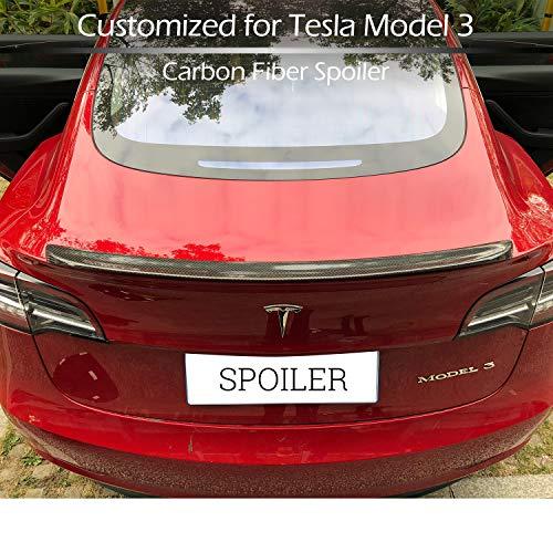 BMZX Carbon Fiber Spoiler for Model 3 Trunk Lip Spoiler Wing Rear Spoiler Lip Kit, Rear Trunk Roof Trim Lip Spoiler Tail Fit Tesla Model 3 2017 2018 2019 2020