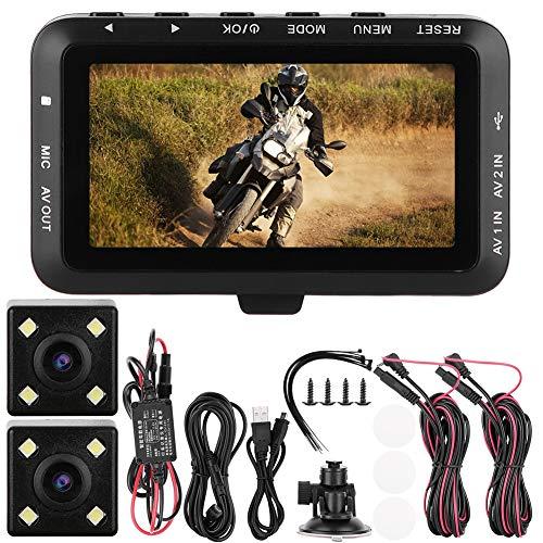Hlyjoon Moto DVR Dash Cam 1080P Grabadora de conducción de motocicletas Traffic Loop Video 3.0 pulgadas LCD Cámara trasera trasera delantera Sensor G Monitoreo de estacionamiento