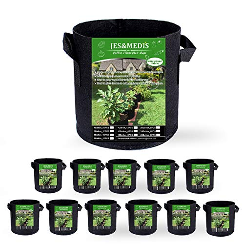 12-Pack 1 Gallon Plant Grow Bags Thick Aeration Non Woven Fabric Flower Vegetable Pots with Handles Garden Container Black (1 Gallon_12 Pack)