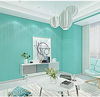 10X0.53M 3D Modern Simple Stripes 3 Colors Embossed Flock Textured Non-Woven Wallpaper Roll for Bedroom Livingroom 1.73' W x 32.8' L=5.3㎡ (57sq.ft) (Tiffany Blue)