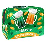 Mugs With Craft Beer St Patrick's Day Makeup Bag Cosmetic Organizer Multifuncition Travel Waterproof Toiletry Bagwith Zipper for Women