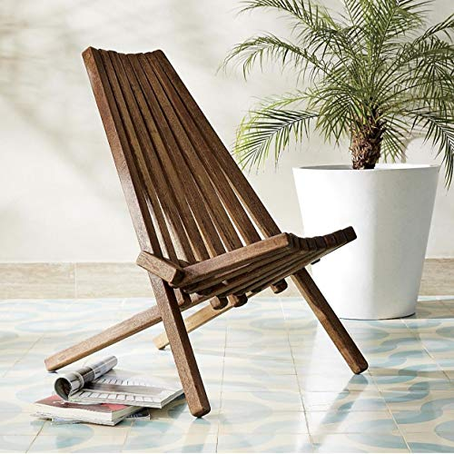 Unknown1 Folding Wooden Outdoor Chair Brown Striped Beach Acacia