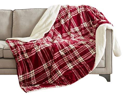 Kuscheldecke Bordeaux Lammfelloptik Wohndecke Tagesdecke Decke Sherpa Plaids Flauschig Weich und Angenehm Warm Perfekt für Winter Microlight to Berber 127x150cm