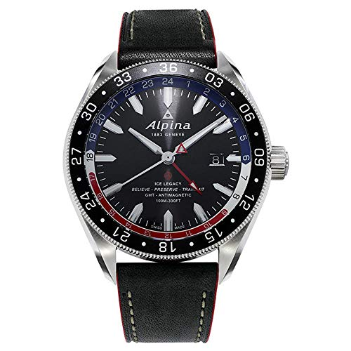 Alpina Alpiner Herren-Armbanduhr 44mm Armband Leder Automatik AL-550GRN5AQ6