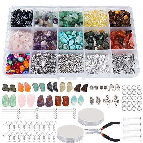 Manualidades de bisutería, manualidades, pulseras, collares, joyas, piedras preciosas naturales,manualidades,con cuentas espaciadoras, anillos flexibles, línea de cristal para la fabricación de joyas