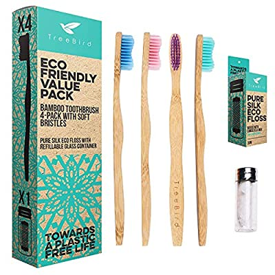 Bamboo Toothbrush 4-pack & Natural Silk Dental Floss With Refillable Glass Holder | Biodegradable Oral Care Set | Soft BPA-free Bristles | Eco-Friendly Gifts For Men And Women | Natural Moso Handle