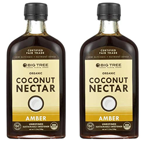 Big Tree Organic Coconut Amber Nectar - Unrefined Sweetener 11.5oz Bottle (Pack of 2)