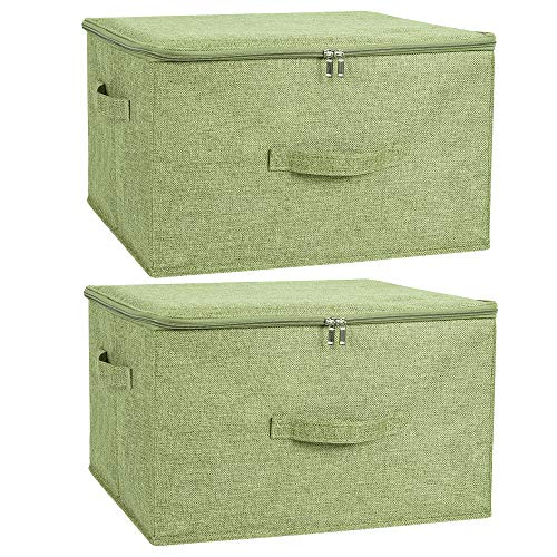 ANMINY 2PCS Storage Bins with Zipper Lid Handles Storage Boxes PP Plastic Board Foldable Lidded Cotton Linen Fabric Home Cubes Baskets Closet Clothes Toys Organizer Containers - Green, Large Size