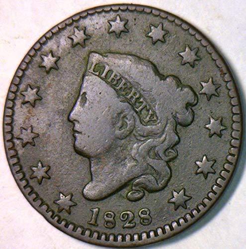 1828 P Coronet Head Small Date, N-10 Cent VG