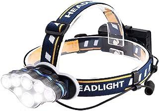 Headlamp flashlight,Brightest 18000 Lumen 8 LED 8 Modes Headlight with Red Warning Light,USB Rechargeable Waterproof Headlight,Super Bright Headlamp for Camping,Fishing,hiking, Cycling,Outdoors