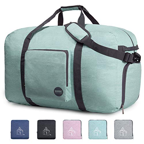 28' Foldable Duffle Bag 80L for Travel Gym Sports Packable Lightweight Luggage Duffel Water-resistant By WANDF (Light Mint Green, 28 inches (80 Liter)