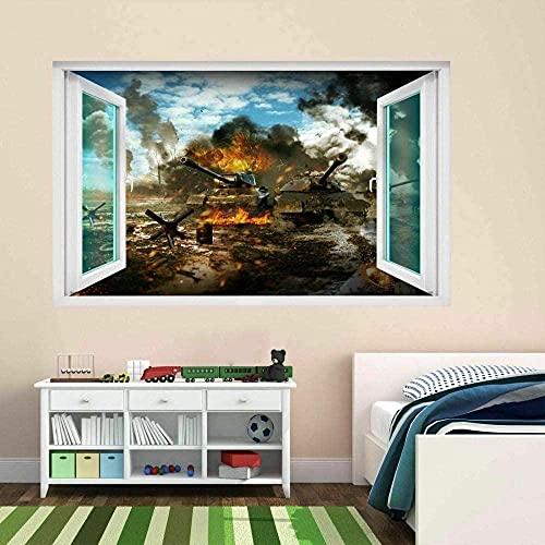 Ejército Batalla Guerra Tanque Militar 3D Etiqueta de la pared Mural Calcomanía Niños Niños Habitación 70x100 cm