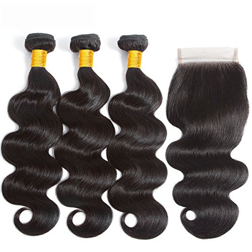 LANANEL Brazilian Hair 3 Bundles with Closure Human Hair Waves Brazilian Body Wave Virgin Hair Bundles 12 14 16 +10 Echthaar Tressen Brasilianische Human Hair Bundles with Closure