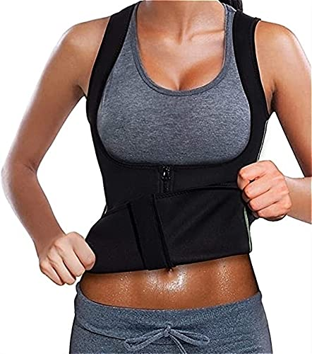 Chaleco deportivo de yoga para mujeres, entrenador de cintura, chaleco, cremallera, adelgazamiento, corsé de neopreno, fajas de fitness, compresión, moldeador cuerpo superior camisa de entrenamiento