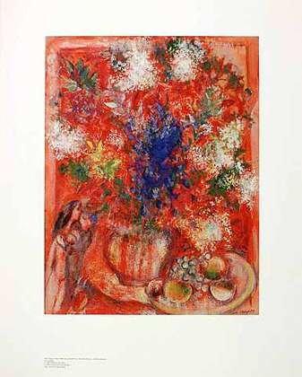 Marc Chagall Poster Kunstdruck Die roten Blumen