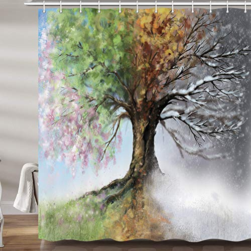 JAWO Fantasy Tree Shower Curtain, Watercolor Four Season...