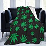 PNNUO Flannel Fleece Blanket-Leaf Weed Blanket Queen Size,All-Season Plush Blanket Comfortable & Warm for Couch Bed Or Men Women