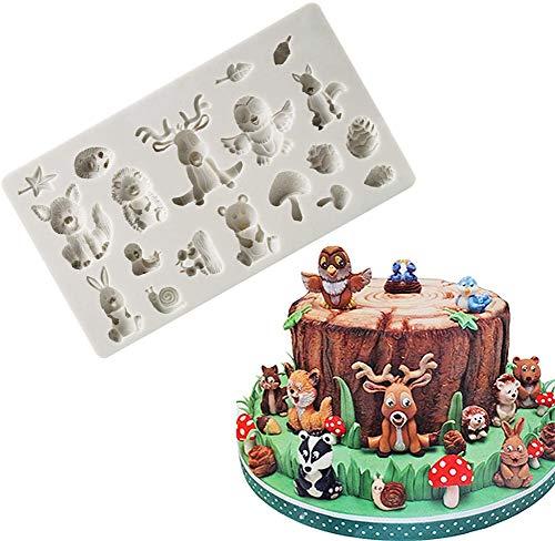 DUBENS Wald Tiere Fondant Formen Zoo Tier Silikonform für Schokolade Candy Gum Paste Polymer Clay Harz Zucker Handwerk Kuchen Dekorieren, Eichhörnchen Kaninchen Hirsch Igel Pilz