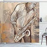 ABAKUHAUS Duschvorhang, Jazz Musik Spielender Alter Mann Saxofone Straßen Musik Gemalt Kunst Digital Druck Bild, Blickdicht aus Stoff inkl. 12 Ringen Umweltfre&lich Waschbar, 175 X 200 cm