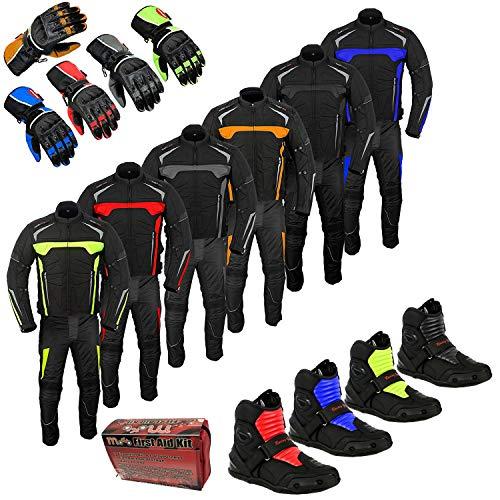 Motorbike Pak Waterdicht Rijden Touring kleding met Korte enkel Motorfiets Schoenen Laarzen met Handschoen 2 Stuk Pak Voor Heren - Gratis Aid Kit Gift 42-Chest/36 Waist - 32 Leg Rood