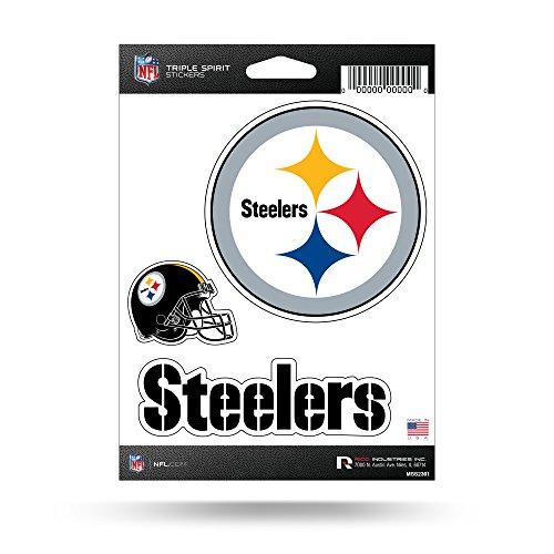 NFL Rico Industries Die Cut 3-Piece Triple Spirit Sticker Sheet, Pittsburgh Steelers , 5 x 7'