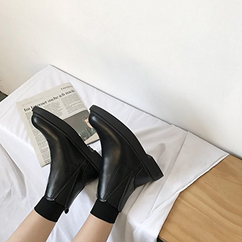 WYMBS Women's Retro Martin Boots Student Flat Short Boots,Black,36