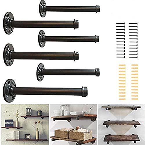 Soportes para estantes industriales para tuberías de 8 pulgadas, juego de 6, estantes para tuberías rústicos, resistentes montados...