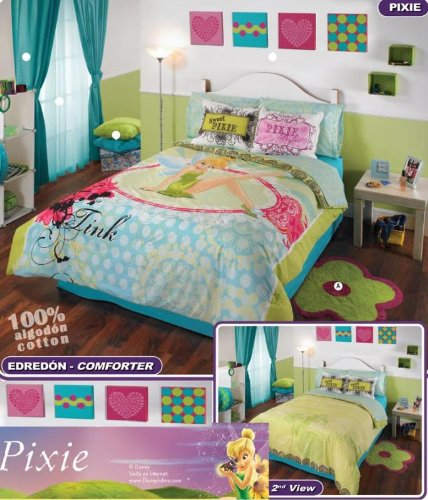 green and blue tinkerbell bedding