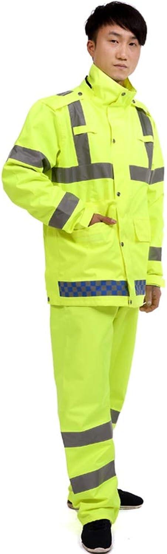 Geyao Mnner und Frauen Regenmantel Regen Hosenanzug Fluorescent Gelb Verkehr Sanitation Radfahren Motorrad Reflektierende Warnung Split Regenmantel Erwachsene