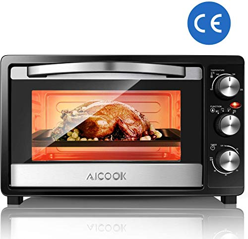 AICOOK Minibackofen mit 1500 Watt   Unter-Oberhitze bis 230 Grad stufenlose Temperaturregelung   60 Minuten Timer   Doppelglastür   23L Mini Ofen