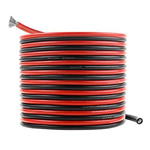 Cable de silicona 12 AWG 20 pies calibre 12 ultra flexible estañado conductor de cobre cable eléctrico 10 pies negro y 10 pies color rojo