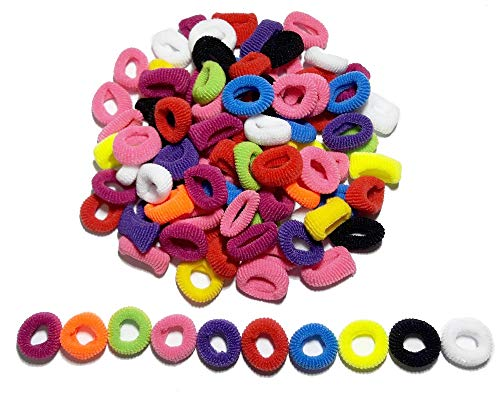100Pcs 10mm Colorful l Assorted Multicolor Child Kids Hair Holders Cute Rubber Hair Band Elastics Accessories Girl Charms Tie Gum