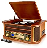 Denver MCR-50 Retro Wooden Music Centre Hi-Fi With Remote Control, Record Player, CD Player, Cassette Player, FM/AM Radio, USB, AUX IN - Record to MP3, RCA Output