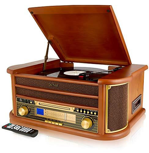 Denver MCR-50 Retro Wooden Music Centre Hi-Fi With Remote Control, Record Player, CD Player,...