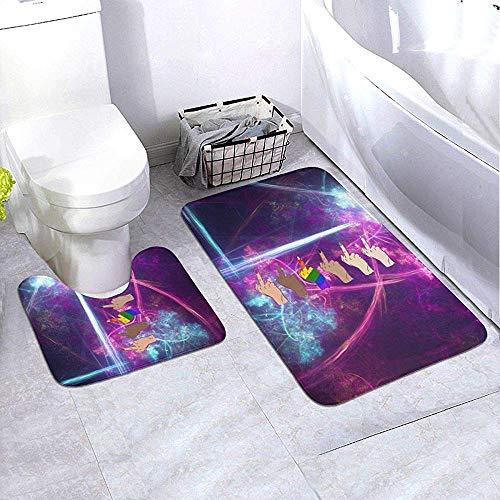 GABRI Badezimmer Teppich Set 2 Stück Mittelfinger Fick Bad Teppich Set Contour Teppich WC Mat Sets rutschfeste Badewanne Duschmatte U-förmigen WC-Sockel Teppich