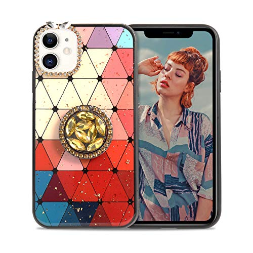 Aulzaju for iPhone 11 Pro Max Case Bling Diamond Rhinestone Bumper Cover with Ring Kickstand Luxury Stylish Cute Grid Marble Design Gold Sparkle Glitter Girly Case for Women 6.5 Inch- Red