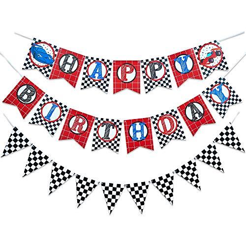 WERNNSAI Racing Auto Alles Gute zum Geburtstag Banner - Rennwagen Thema Partyzubehör Geburtstag Partydekorationen Hängende Wand Flaggen Wimpel für Rennfans