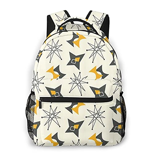 COVASA Casual Schulrucksack Travel Bookbag,Vintage Atomic Stars Retro-Muster auf Bumerangs Mid Centry,Leichter großer Schüler-Kind-Erwachsenen-Rucksack für 15,6 'Laptop