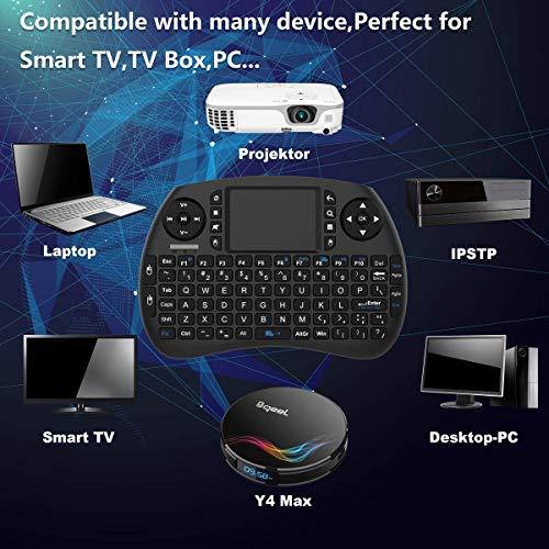 Bqeel Mini Wireless Keyboard Mini Tastatur mit Touchpad Maus (92 Keys Englische Layout QWERTY) / Ergonomische Design/Wiederaufladbare Li-ion Batterie für Smart TV, Android TV Box/Mini PC usw.
