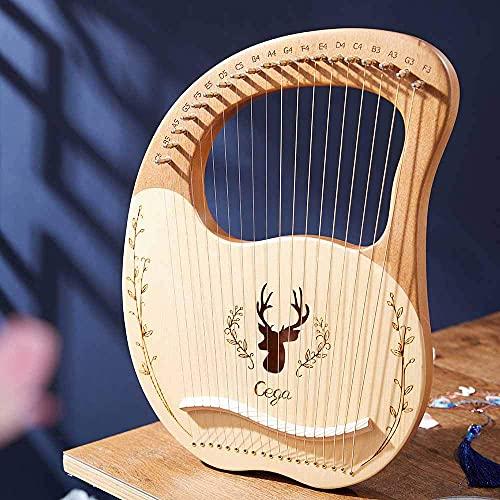 Kacsoo Lyre Harp 19 Saiten, Lyre Harp Massivholz Mahagoni, Harfe Portable Lyre 19 Saite mit geschnitzten phonetischen Symbolen für Musikliebhaber Anfänger Kinder Erwachsene Musikgeschenke