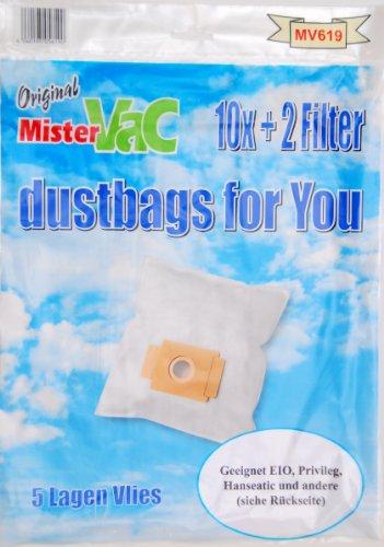 mistervac MV 619 / Staubsaugerbeutel Vlies 5-lagig / Vorteilspack 20 Tüten + 4 Filter / für Chromex CH-Serie, Dirt Devil M-Serie, EIO