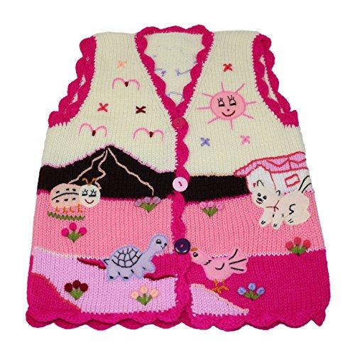 Sunny Times Sunny Times - Kinder Strick Weste aus Peru, handgefertigt aus Wolle, Größe 74 - 104, (86/92, Creme/Magenta)