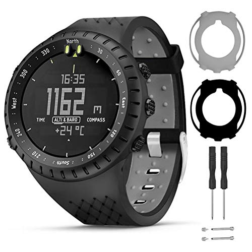 T-BLUER Watch Band Compatible for Suunto Core,Silicone Replacement Strap Bracelet Accessory and Full Cover Protector Case for Suunto Core Smart Watch,Black Grey