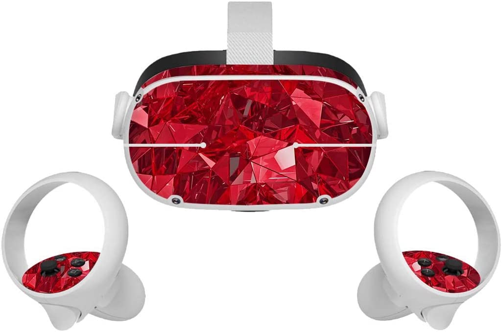 Stickers Skin for Oculus Quest 2, Oculus Quest 2 VR Headset and Controller Cute Sticker Protection Accessories(Red)