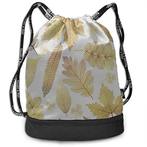 OKIJH Mochila Mochila de ocio Mochila con cordón Mochila multifuncional Bolsa de gimnasio Drawstring Bag For Gym Clear Golden Autumn Season Leaves Gym Drawstring Bags Backpack Sports String Bundle Bac