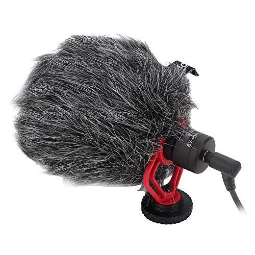 Cardioïde condensatormicrofoon met afneembare schokbestendige houder, 3,5 mm bekabelde microfoon met ruisonderdrukkingsfunctie, compatibel met DSLR/mobiele telefoons/camera's