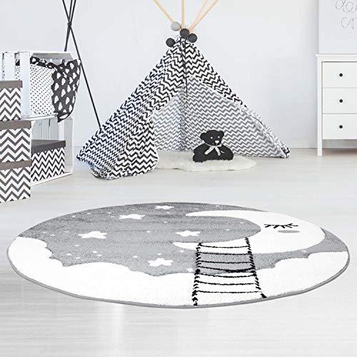 Kinderteppich Bueno Konturenschnitt mit Mond, Wolken, Sterne, in Grau Creme für Kinderzimmer; Größe: 160x160 cm Rund