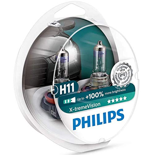 Philips H11 X-tremeVision Upgrade Headlight Bulb with up to 100% More Vision, 2 Pack in Premium Packaging